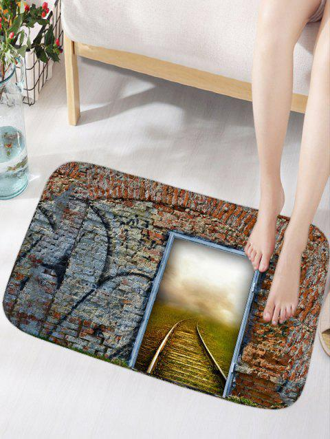 Brick Wall Door Railway Print Floor Rug - COLORMIX W16 INCH * L24 INCH