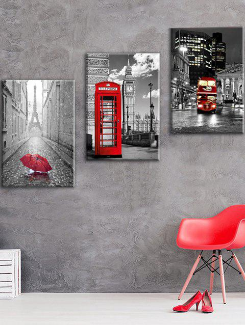 Big Ben Eiffel Tower Print Wall Art Canvas Paintings - COLORFUL 3PC:12*18 INCH( NO FRAME )
