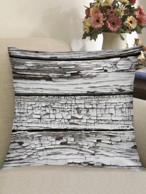 Rotten Wooden Board Print Throw Pillow Case - GREY WHITE W18 INCH * L18 INCH