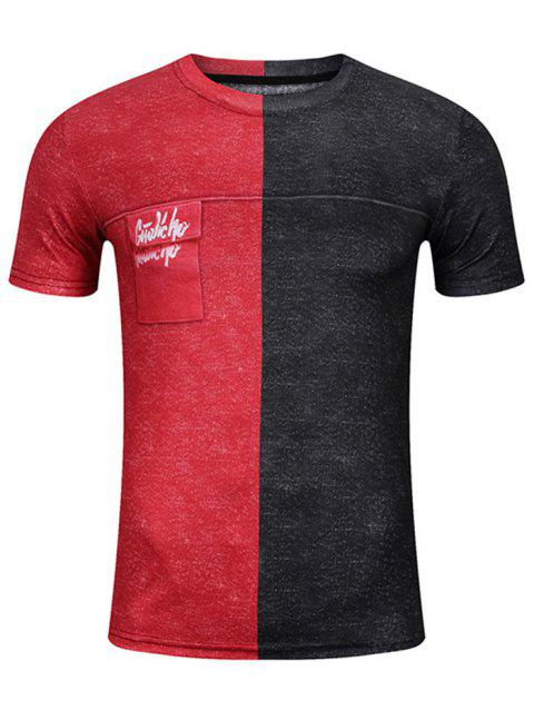 Short Sleeve Graphic Pocket Print Two Tone Tee - RED/BLACK XL