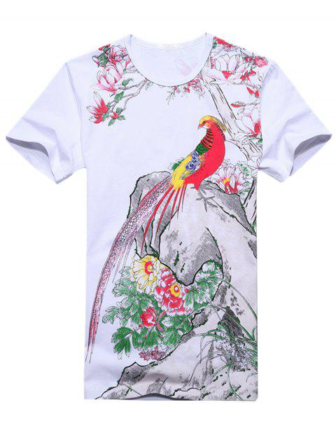 Chinese Style Florals and Bird Print T-shirt - WHITE 2XL