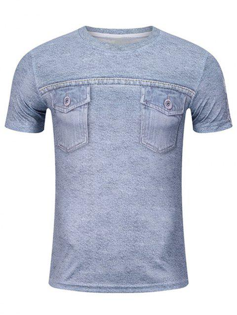 Short Sleeve Pockets 3D Print Funny Tee - BLUE GRAY XL