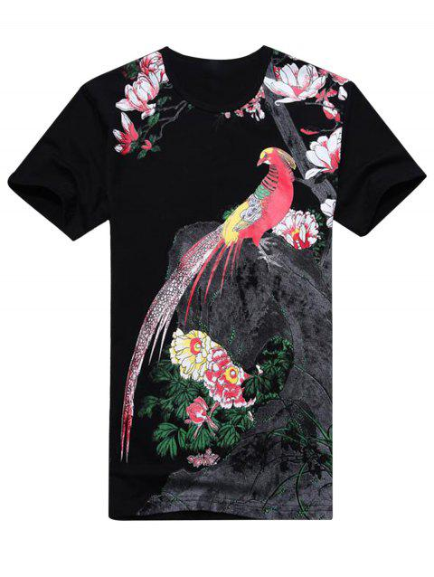 Chinese Style Florals and Bird Print T-shirt - BLACK 2XL