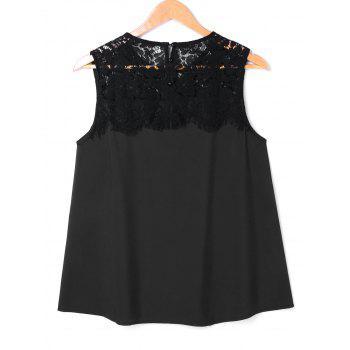Crochet Lace Insert Sleeveless Blouse - BLACK 2XL