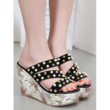 Studs Strappy Mules Shoes - BLACK 38
