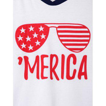 Merica Sunglasses Printed Raglan Sleeve T-shirt - WHITE M