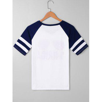 Merica Sunglasses Printed Raglan Sleeve T-shirt - WHITE L