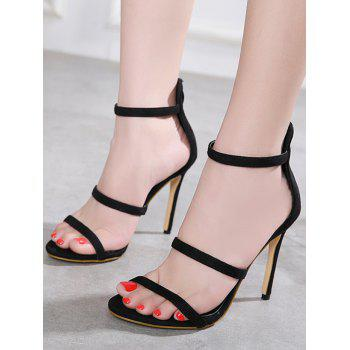High Heel Ankle Wrap Sandals - BLACK 35