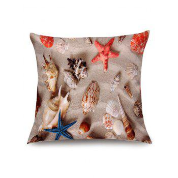 Beach Starfishes Shells Print Pillow Case - COLORMIX W18 INCH * L18 INCH