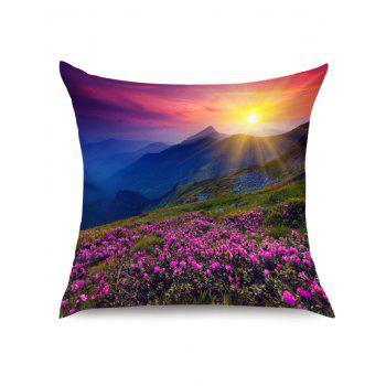 Morning Sunlight Lavender Grassland Print Throw Pillow Case - PURPLE W18 INCH * L18 INCH