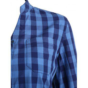 Gingham Stand Collar Tunic Shirt - BLUE S