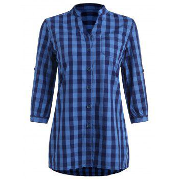 Gingham Stand Collar Tunic Shirt - BLUE L