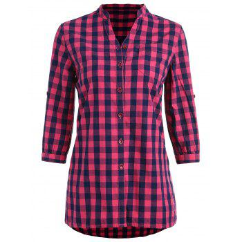 Gingham Stand Collar Tunic Shirt - ROSE RED XL