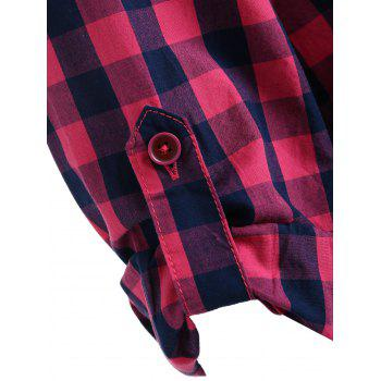 Gingham Stand Collar Tunic Shirt - ROSE RED M