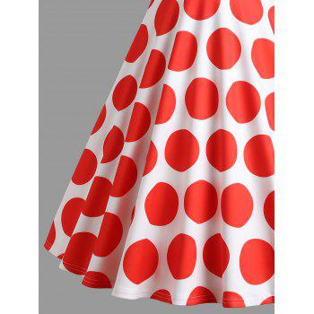 Polka Dot Off Shoulder Vintage Dress - RED M