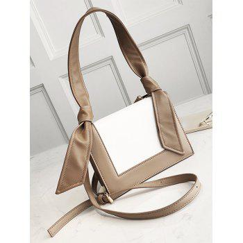 Color Block Knot Shoulder Bag - KHAKI