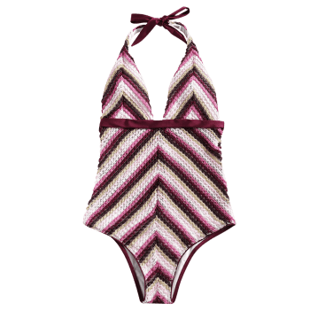 Zigzag Crochet One Piece Swimsuit - WINE RED L