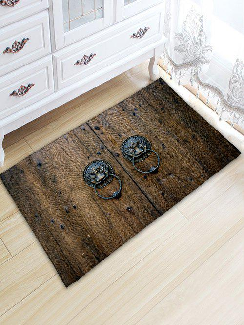 Anti-skid Retro Knocker Wood Door Print Floor Rug - BROWN W20 INCH * L31.5 INCH