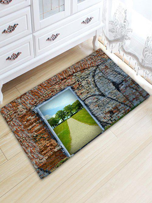 Stone Wall Door Pathway Trees Print Floor Rug - COLORMIX W20 INCH * L31.5 INCH