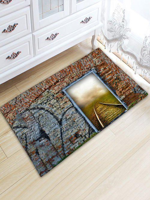 Brick Wall Door Railway Print Floor Rug - COLORMIX W20 INCH * L31.5 INCH