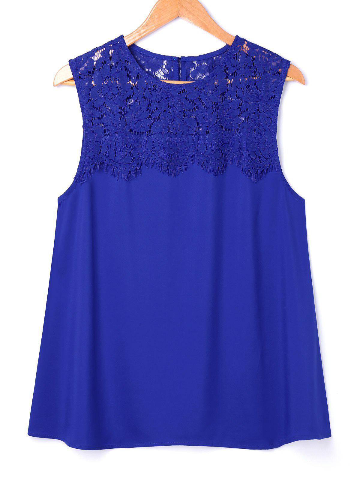 Crochet Lace Insert Sleeveless Blouse - BLUE XL
