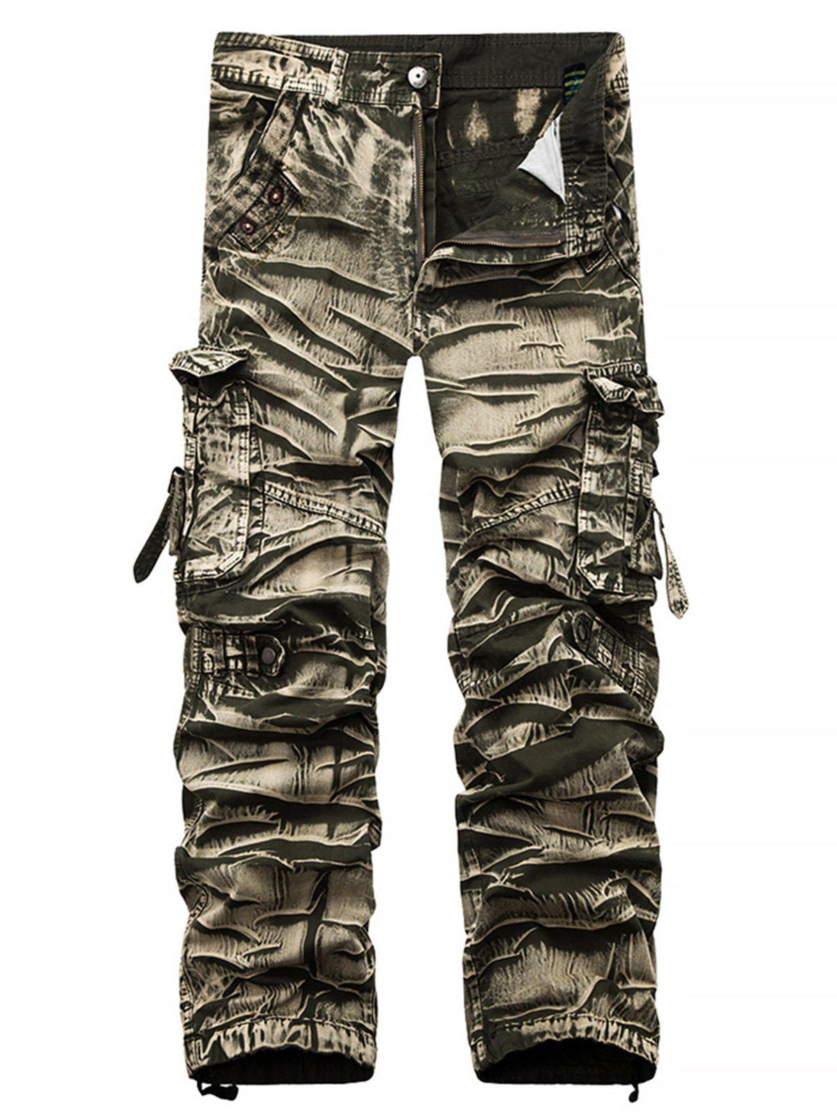 Accordion Pleat Camouflage Cargo Pants - KHAKI 34