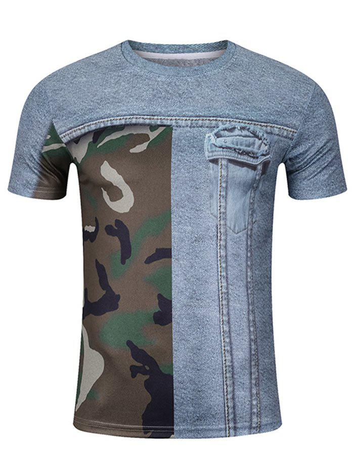 Short Sleeve Camo and 3D Pocket Print Tee футболка obey camo pocket tee bubble camo s