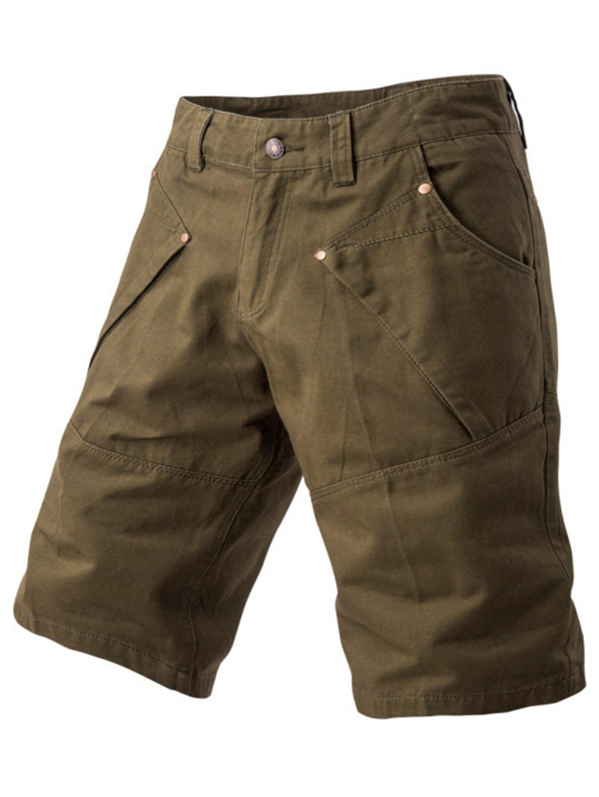 Panel Design Pockets Cargo Shorts - ARMY GREEN 32
