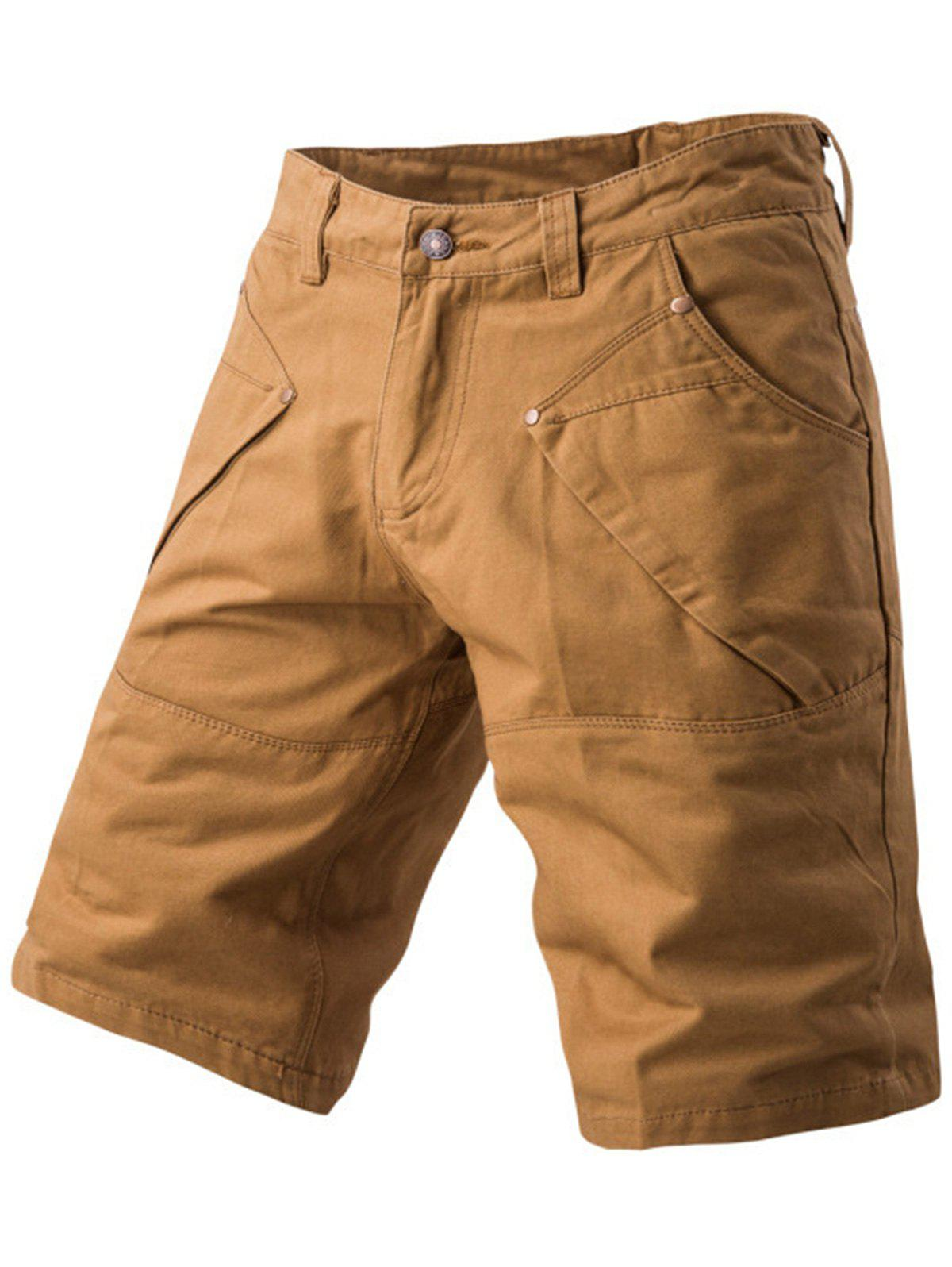 Panel Design Pockets Cargo Shorts - KHAKI 34