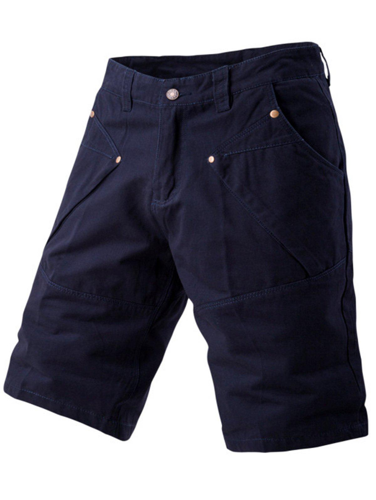 Panel Design Pockets Cargo Shorts - CADETBLUE 34