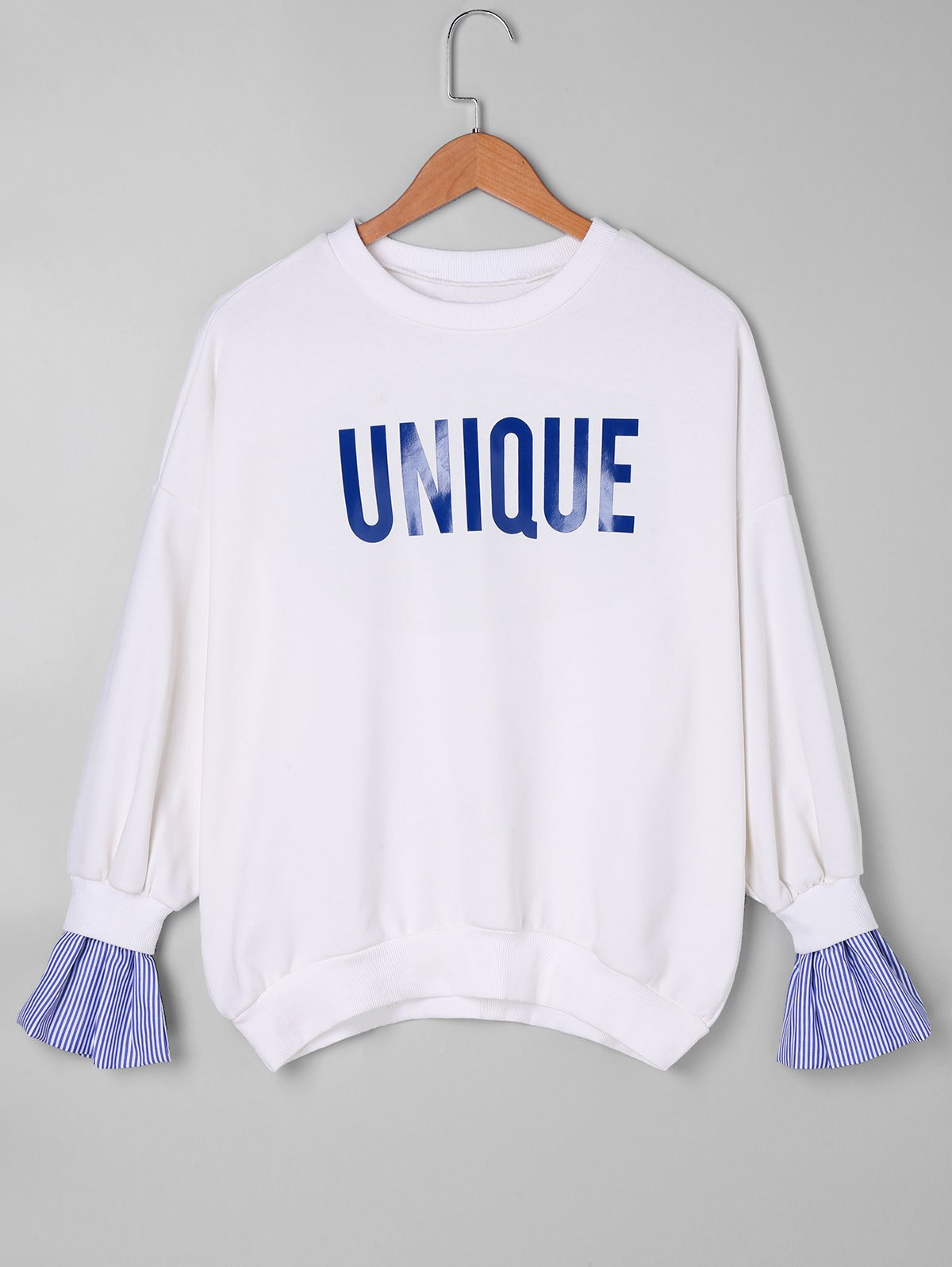 Stripe Panel Unique Sweatshirt - BLUE ONE SIZE