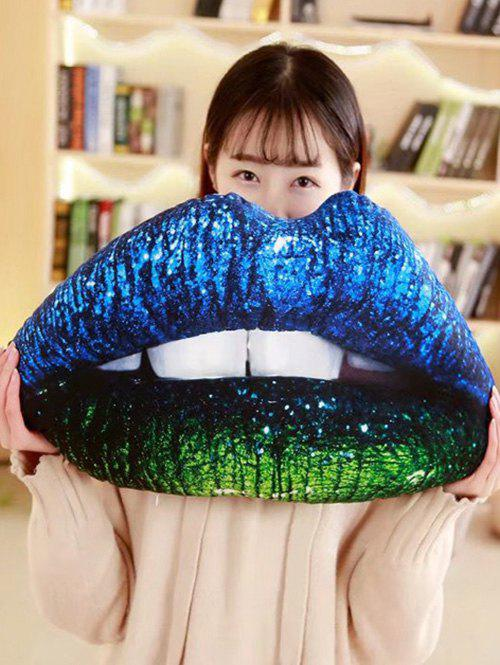 Lip Pattern Soft Throw Pillow - BLUE GREEN 60*30CM