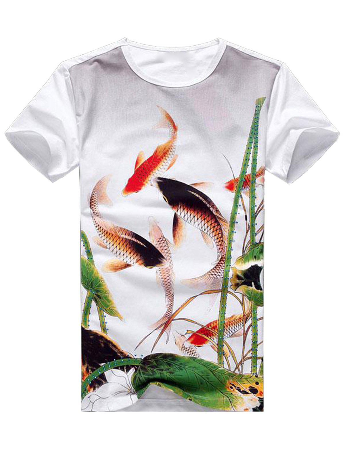 Fancy Carp Rhinestone Embellished T-shirt - WHITE 2XL