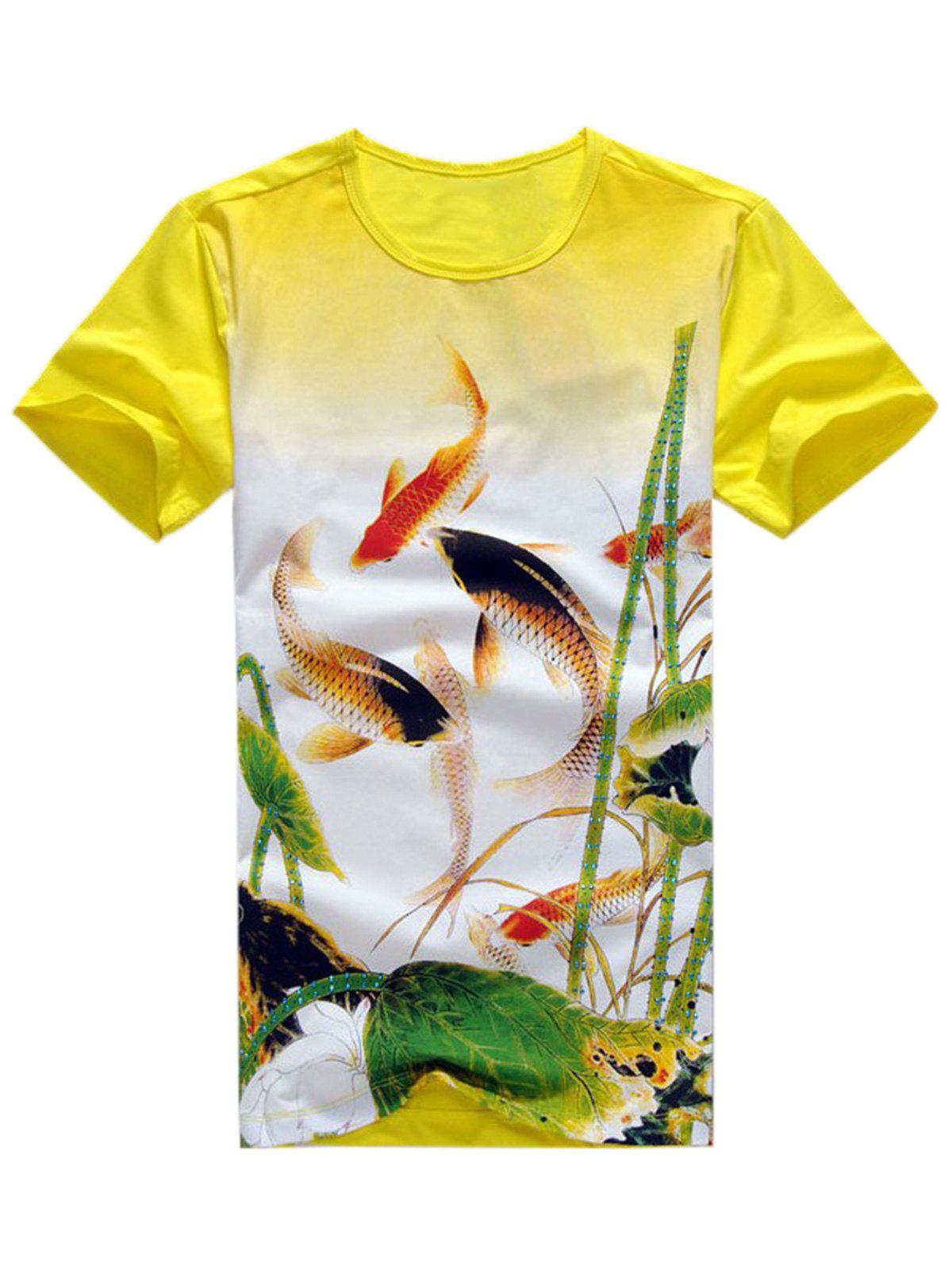Fancy Carp Rhinestone Embellished T-shirt - YELLOW XL