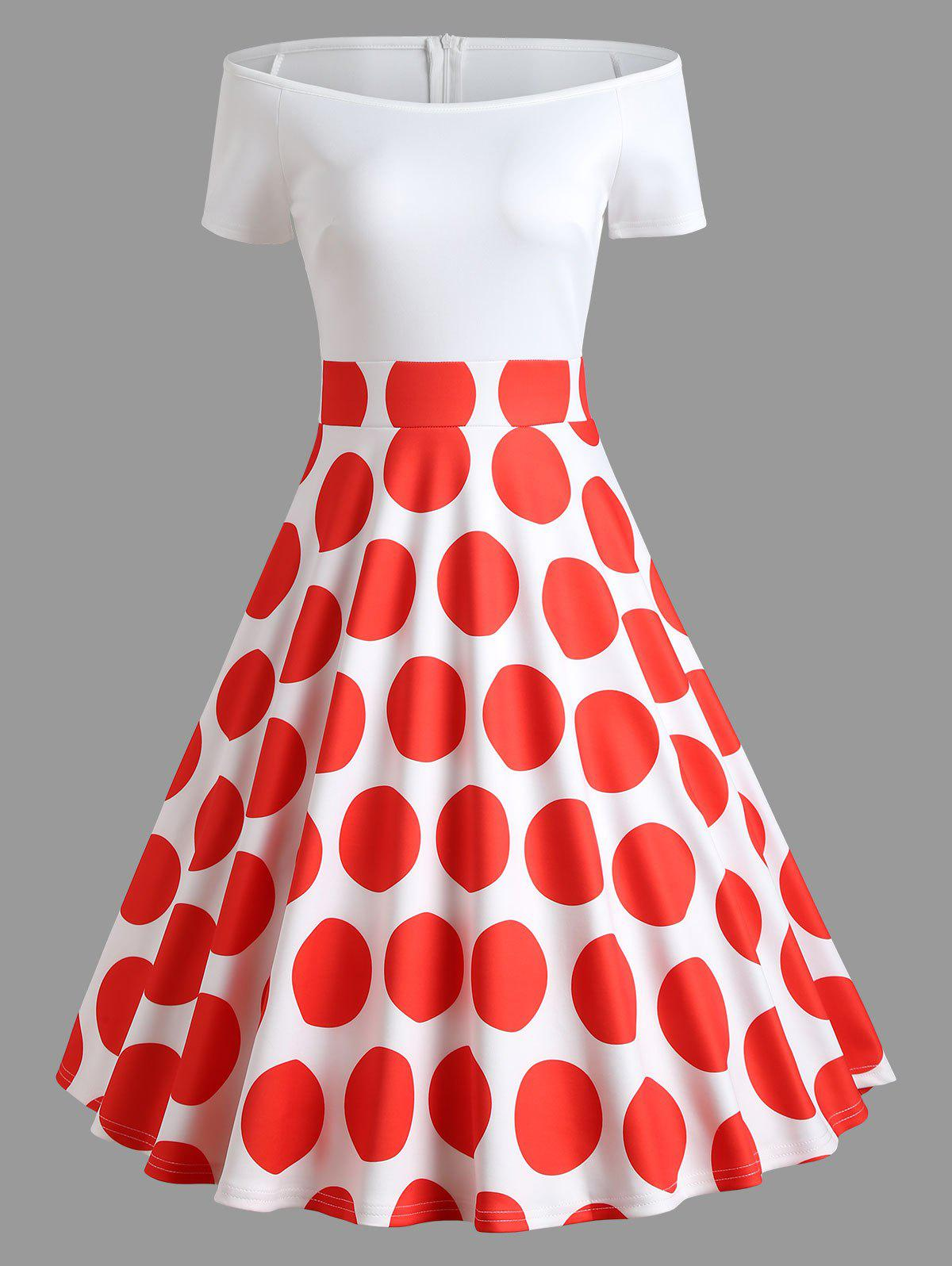 Polka Dot Off Shoulder Vintage Dress - RED L