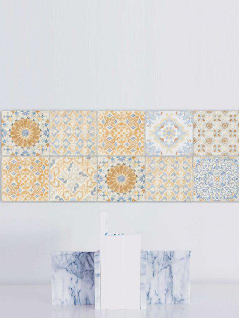 Square Fresh Floral Skidproof Wall Tile Stickers Set - YELLOW 6*6 INCH