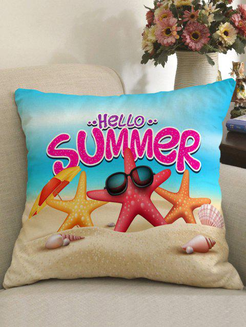 Beach Starfish Print Linen Sofa Pillowcase - COLORFUL W18 INCH * L18 INCH
