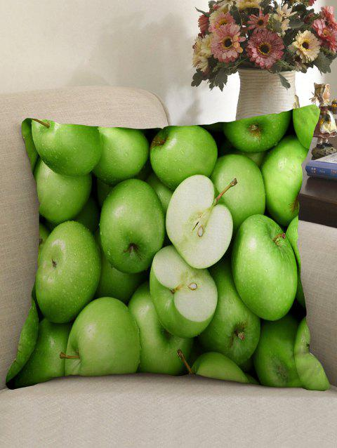 Apples Print Linen Sofa Pillowcase - GREEN W18 INCH * L18 INCH