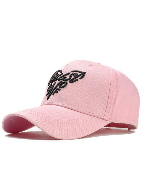 Heart Shaped Letter Embroidery Snapback Cap - PINK