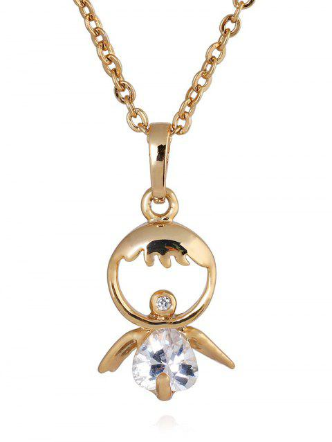 Faux Crystal Decorated Doll Pendant Necklace - GOLDEN