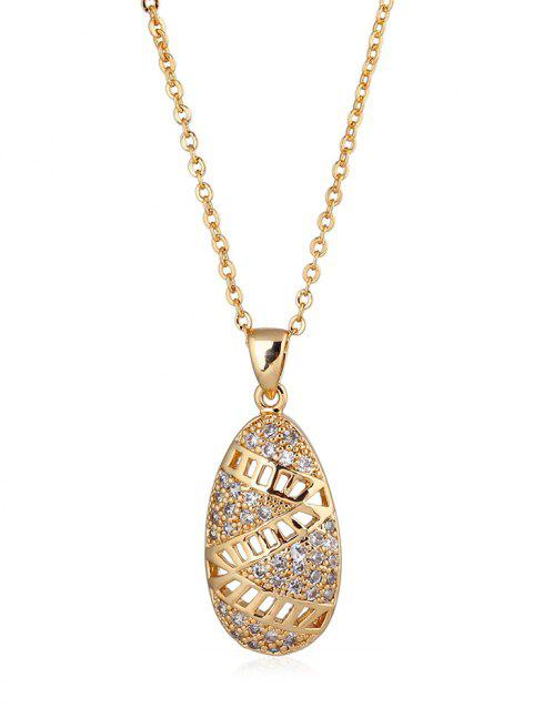 Faux Crystal Decorated Oval Pendant Necklace - GOLDEN