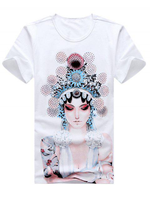 Chinese Style Character Print T-shirt - WHITE 2XL