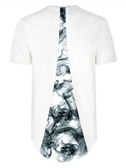 Back Panel Dropped Ink Print High Low Hem Tee - WHITE 2XL