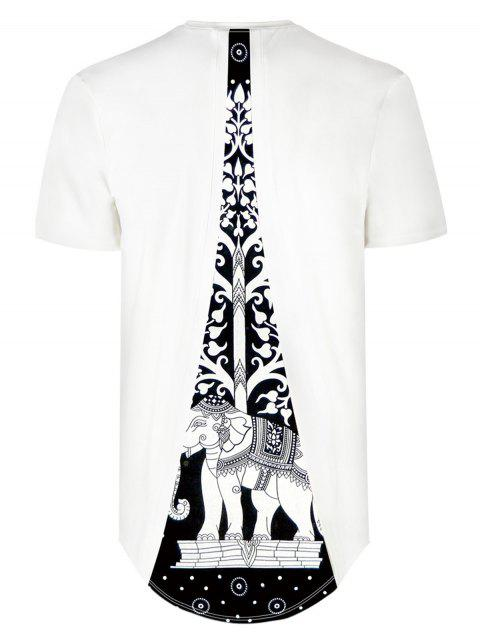 Back Insert Elephant Pattern Hign Low Hem Tee - WHITE L