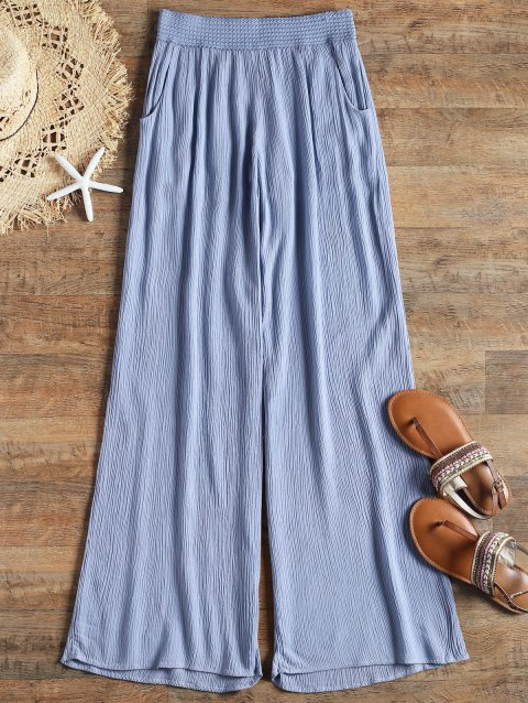 Crinkly Cover Up Palazzo Pants - BLUE S
