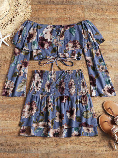 Lace Up Floral Top with Tiered Beach Skirt - BLUE M
