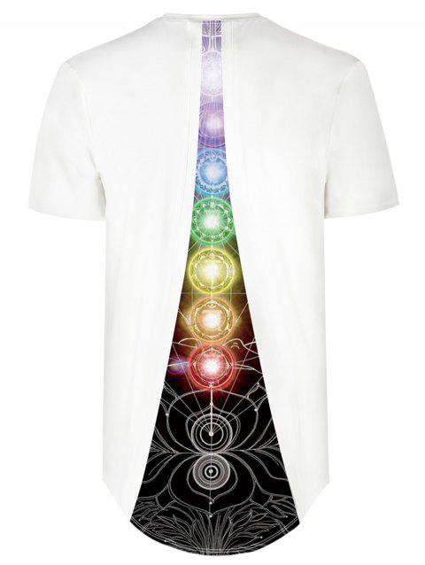 Circles Print Back Insert Design High Low Tee - WHITE XL
