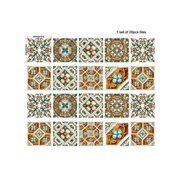 20Pcs Square Floral Geometric Print Antislip Wall Decals - COLORMIX 6*6 INCH