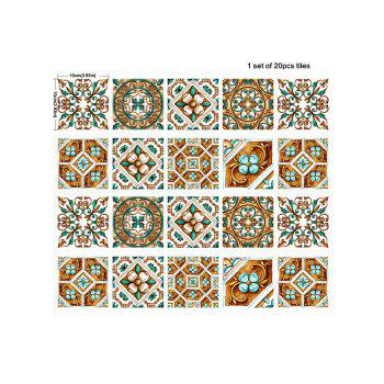 20Pcs Square Floral Geometric Print Antislip Wall Decals - COLORMIX 4*4 INCH