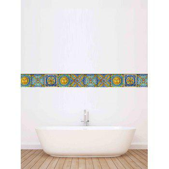 Showerproof Nonslip Vintage Floral Wall Tile Decals Set - GREEN 4*4 INCH